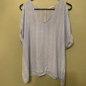 Lush white and blue top with cold shoulder